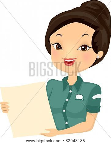 Illustration of a Female Bistro Worker Holding a Menu