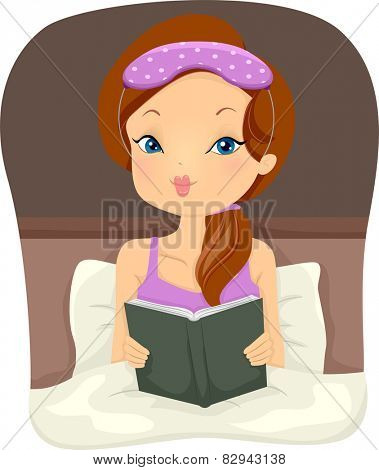 Illustration of a Girl Reading a Book on Her Bed