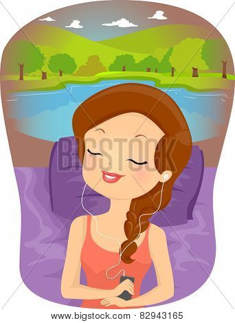 Illustration of a Woman Imagining a Relaxing Scene While Listening to Her Music
