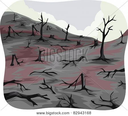 Illustration of Charred Trees Left Behind by a Forest Fire