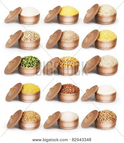 Collection of dry cereals in a wooden bowl