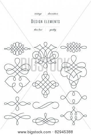 Vintage set - calligraphic design elements, thin line ( variable line width )