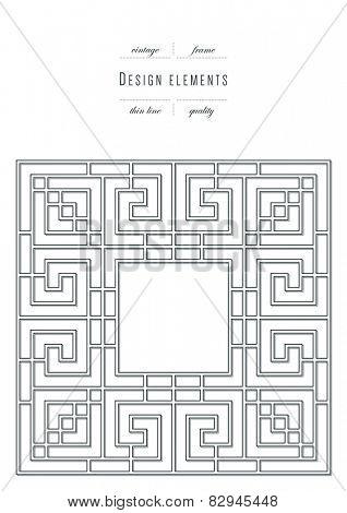 Vintage set - design elements - frame, thin line ( variable line width )