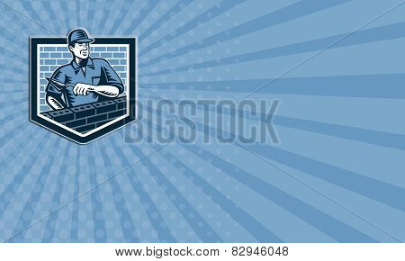 Business Card Brick Layer Mason Masonry Worker Retro