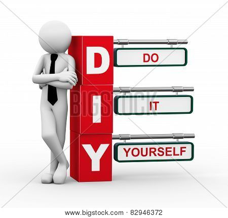3D Businessman With Diy Signpost Illustration