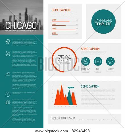Simple infographic dashboard template with flat design graphs and charts - teal and red version