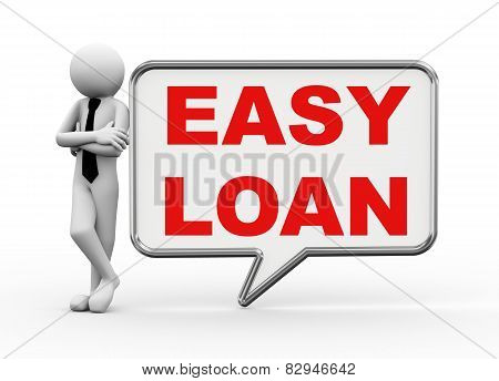 3D Businessman With Speech Bubble - Easy Loan