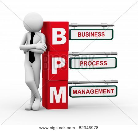 3D Businessman With Bpm Signpost Illustration
