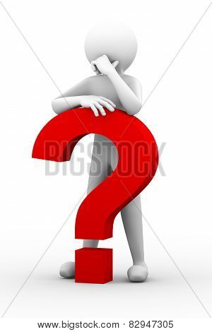 3D Confused Person With Question Mark Illustration