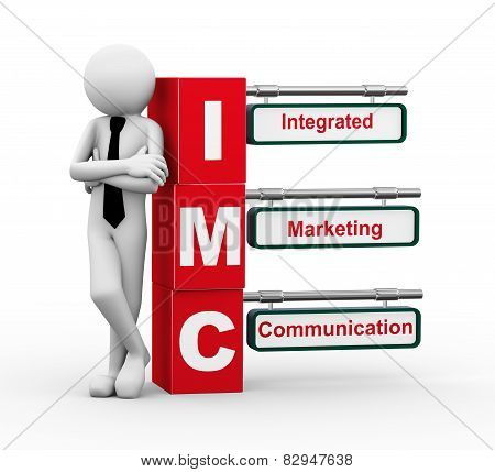 3D Businessman With Imc Signpost Illustration