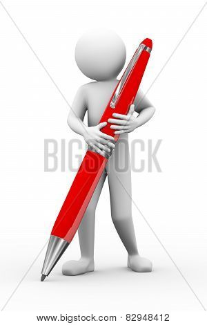 3D Man Holding Big Pen Illustration