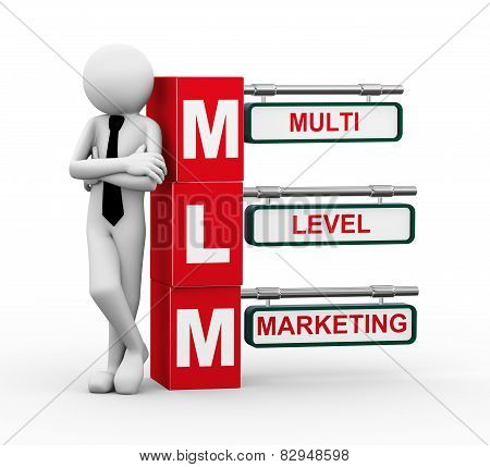 3D Businessman With Mlm Signpost Illustration