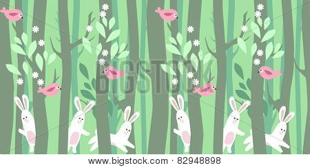 Seamless horizontal pattern with rabbits and trees in spring forest