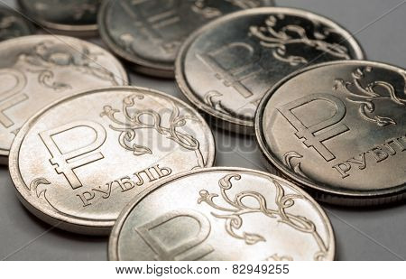 New symbol one rouble coins, Russian currency