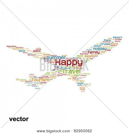 Vector concept or conceptual abstract travel or tourism word cloud or wordcloud as plane silhouette isolated on white background