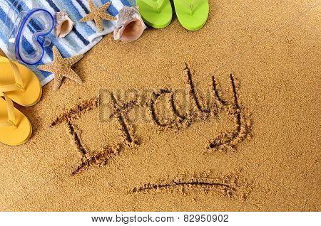 Italy Beach Writing