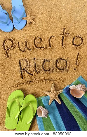 Puerto Rico Beach Writing