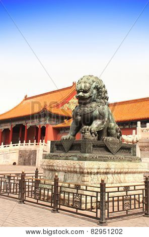 Ancient lion statue in Forbidden City, Beijing, China