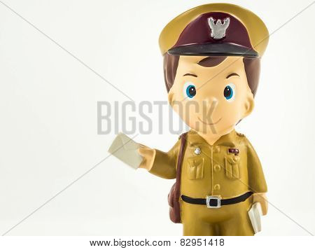 Postman model on white background