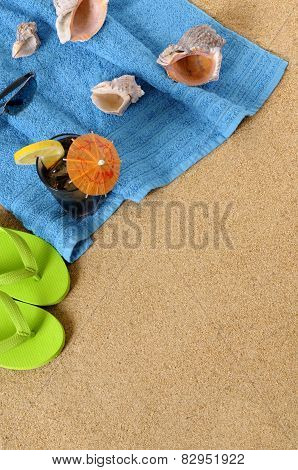 Beach Background With Iced Cola And Flip Flops