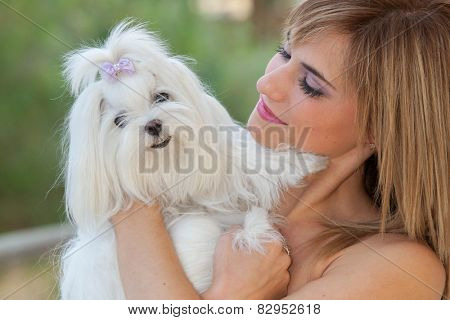 owner holding pet lapdog,  maltese