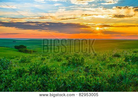 Kansas Sunset In The Flint Hills