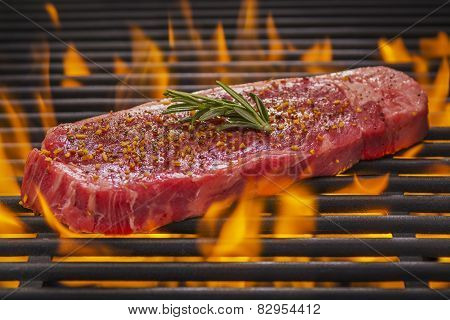 New York Steak on a Hot Flaming Grill
