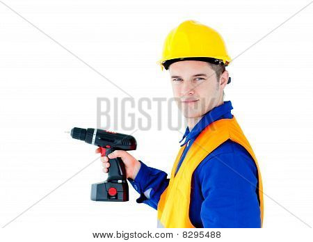 Assertive Male Worker Holding A Tool