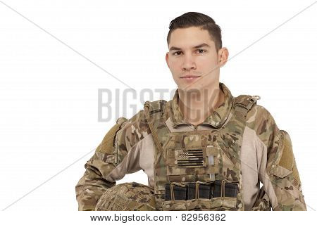 Soldier Posing Against White Background