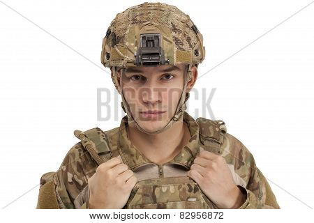Soldier Wearing Protective Gear / Helmet and Tactical Vest