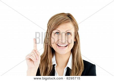 Laughing Businesswoman Showing With Her Finger Up