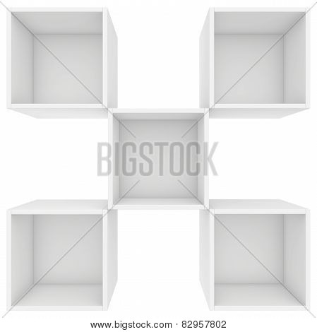 in a checkerboard pattern shelves. 3d render