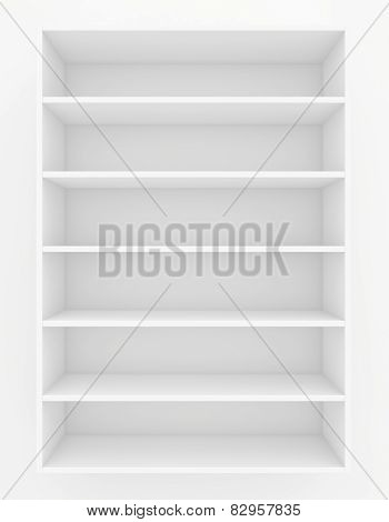 clear bookshelf. 3d render on white background