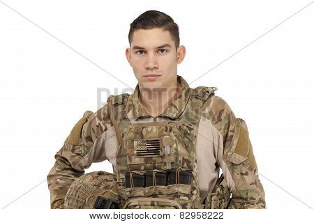 Serious Soldier wearing tactical vest and helmet