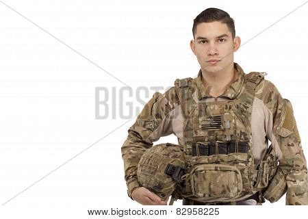Serious Soldier Posing Against White Background