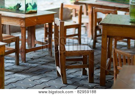 Vintage Old Brown Wooden Chair And Table Decorations.