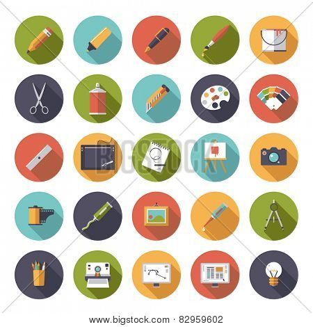 Art and design flat icon vector collection. Collection of 25 flat art and design related vector icons in square shape with rounded corners.