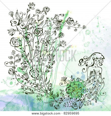Graphic card with girl and floral illustration