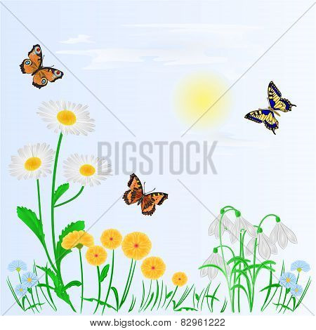 Spring Background Spring Flowers And Butterflies Vector