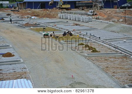 Open air parking lots under construction