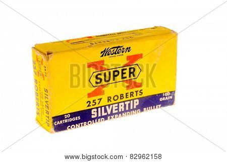Hayward, CA - February 10, 2015: old box of Western Super-X, 257 Roberts caliber with Silvertip bullets ammunition  isolated on white