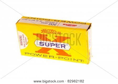 Hayward, CA - February 10, 2015: old box of Western Super-X, in 300 Savage caliber with PowerPoint bullets  ammunition isolated on white