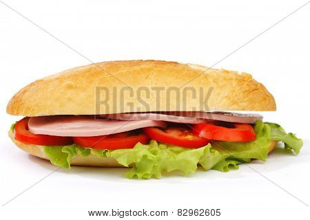 Closeup of sandwich with ham and fresh vegetables