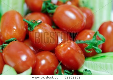 Fresh cherry tomatoes with selected focus