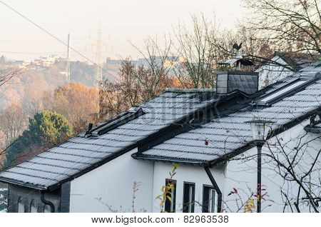 Roofs Covered With Hoarfrost