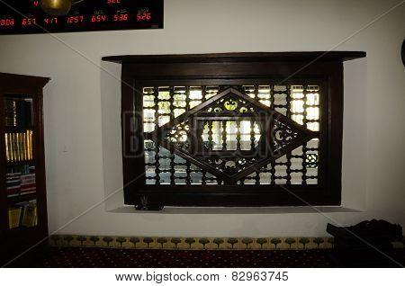 Window detail of Masjid Kampung Hulu in Malacca, Malaysia