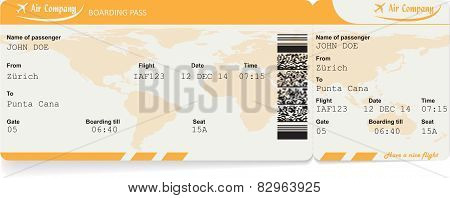 Vector image of airline boarding pass ticket
