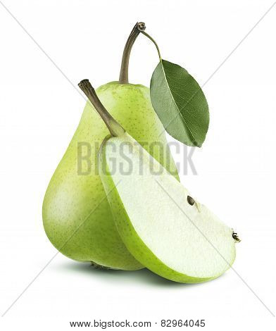 Green Pear Whole And Quarter Isolated On White Background