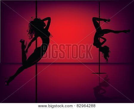 Pole dancers on red