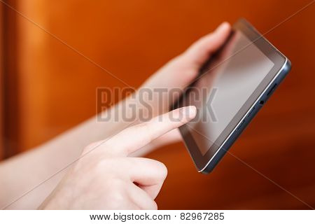 Finger Touching Tablet Pc In Office